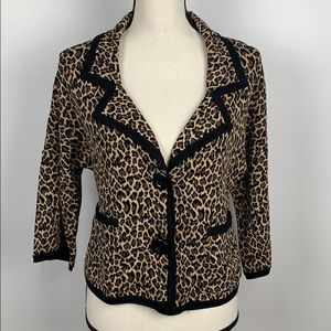 Anne Klein Animal Print Cardigan Sweater Size XS